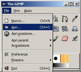 questo è il menù principale di GIMP