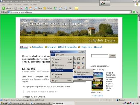 catturare l'immagine dello schermo con Gimp: esempio