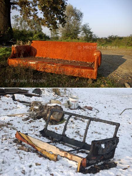 rifiuti: un divano abbandonato per diversi mesi in aperta campagna