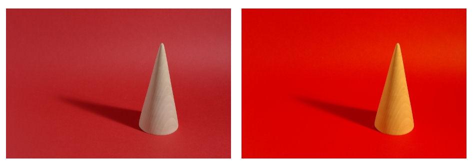 Sfondo rosso: a sinistra tungsteno a destra luce solare